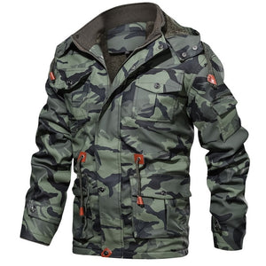 Camouflage Winter Fleece Thick Casual Men Hooded Jacket