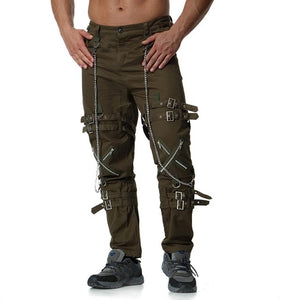 Rocker Style Multi Zippers with Chain Men Cargo Pants