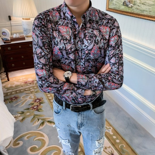 Floral Lilac Paisley Print Long Sleeve Casual Men Shirts