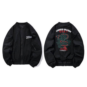 China Dragon Embroidery Streetwear Hip Hop Loose Style Men Jacket - FanFreakz