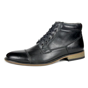 Rounded Cap Toe Lace Up Men Leather Winter Boots