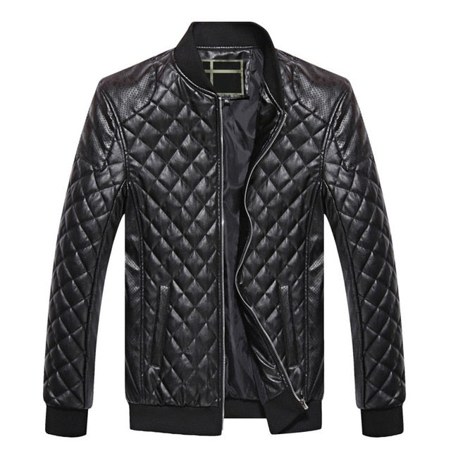 Criss Cross Design Solid Casual Men PU Leather Jacket - FanFreakz