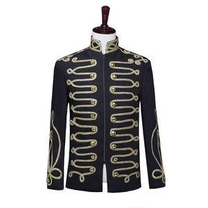 Stand Collar Casual Steampunk Drummer Parade Costume Men Blazer