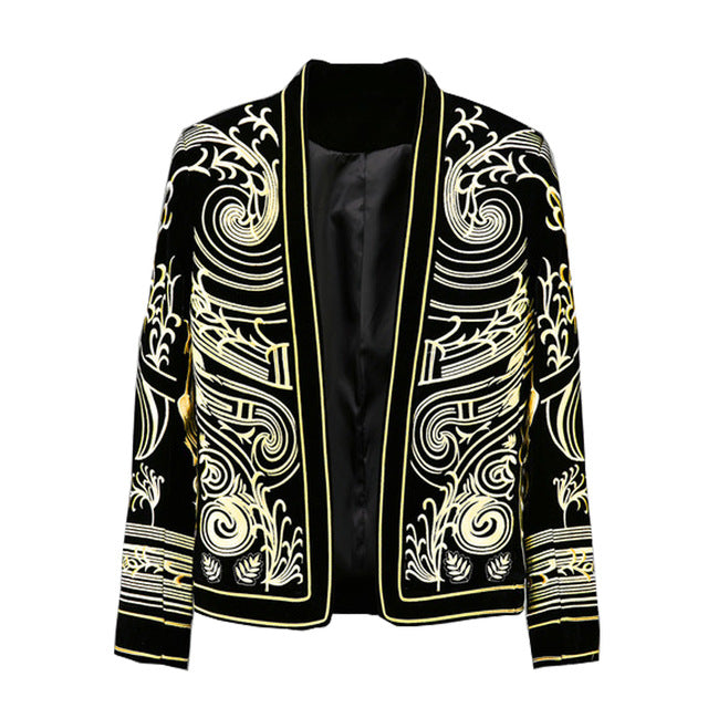 Posh Gold Baroque Art Embroidery Men Black Blazer for Stage Performer
