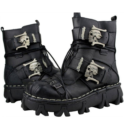 Military Combat Style with Skull Punk Buckle Strap Men Leather Work Boots