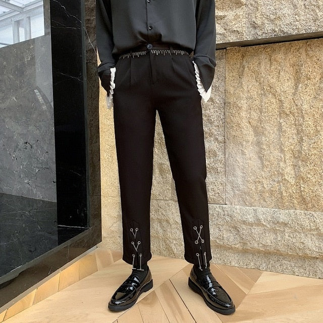 Black with Bottom Cord Detail Casual Style Men Pants - FanFreakz