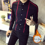 Symmetrical Stripe Simple Solid Design Men Long Sleeves Shirt