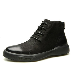 Black Green Lace Up Leather Combination Men Ankle Boots - FanFreakz