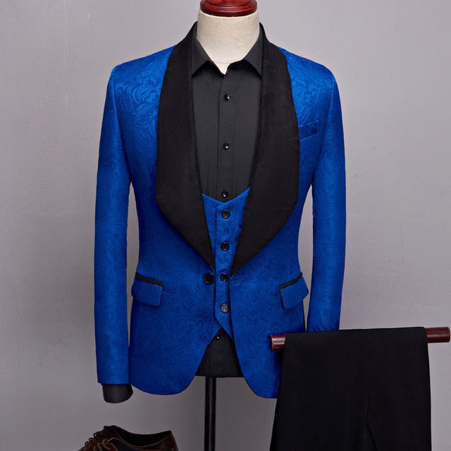 93fc69bbb375 Big Shawl Lapel Jacquard Men Dress Suit Complete Set Blazer, Vest, and Pant  -