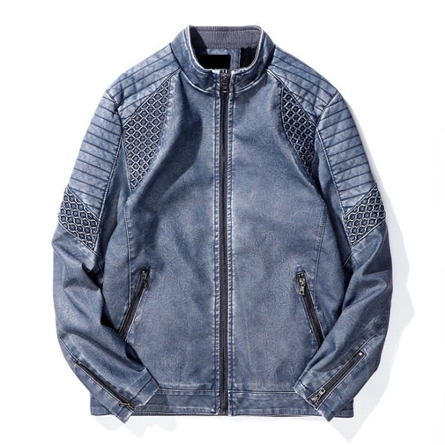 Winter Light Hue Biker Men Leather Jacket