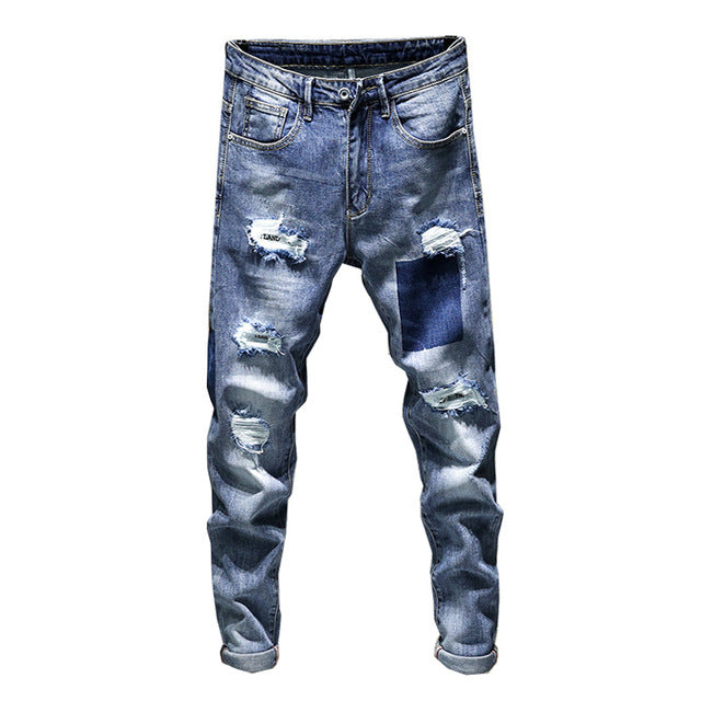 Retro Blue Patch Effect Ripped Style Biker Men Slim Jeans