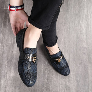 Luxury Snake Pattern with Tassel and Metal Ornament Men Loafers