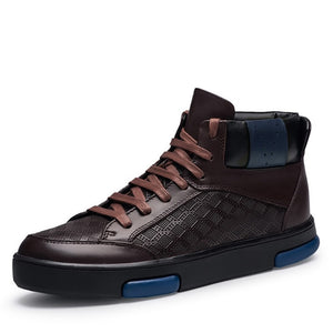 Casual Lace Up with Blue Mark Detail Men Leather High Top Sneakers - FanFreakz