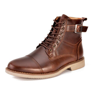 Lace Up with Side Zipper Motobiker Style Men Genuine Leather Boots