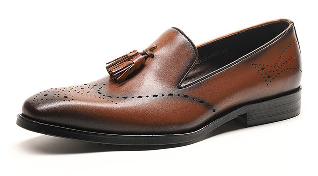 Elegant Formal Style Loafers with Tassel Men Leather Shoes