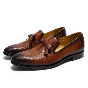 Bowtie Braid Textured Men Leather Loafer Dress Shoes - FanFreakz