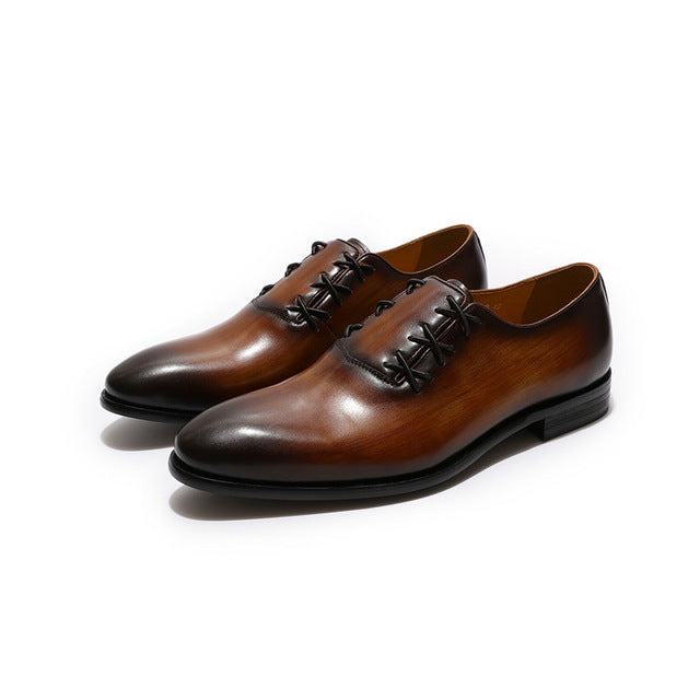 Pointed Toe Genuine Leather Criss Cross Lid Lace Up Style Men Shoes