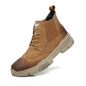 Casual Style Rubber Sole Lace Up Men Leather Boots - FanFreakz