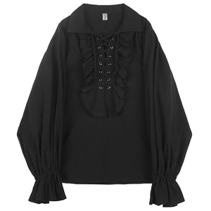 Gothic Vintage Party Style with Lace Up Ruffles Chest Detail Men Shirt