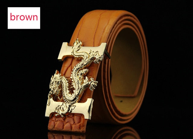 Gold Chinese Dragon Metal Buckle Men PU Leather Belt