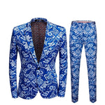 Vintage Floral White Blue Print Men Slim Fit Suit