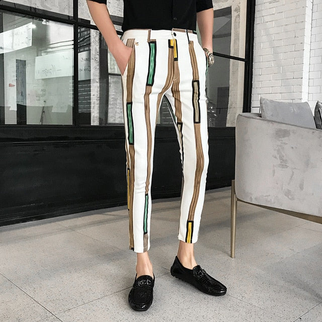 Casual Bar Stripe Print Slim Fit Style Men Trousers