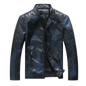 Solid Stand Collar Casual Motorcycle Biker Style Men PU Jacket