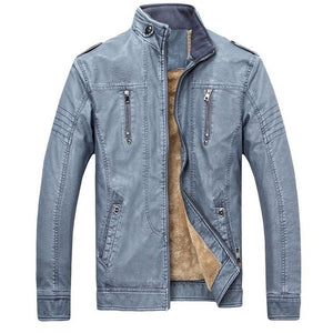 Solid Stand Collar with Faux Fur Lining Biker Style Men PU Leather Jacket