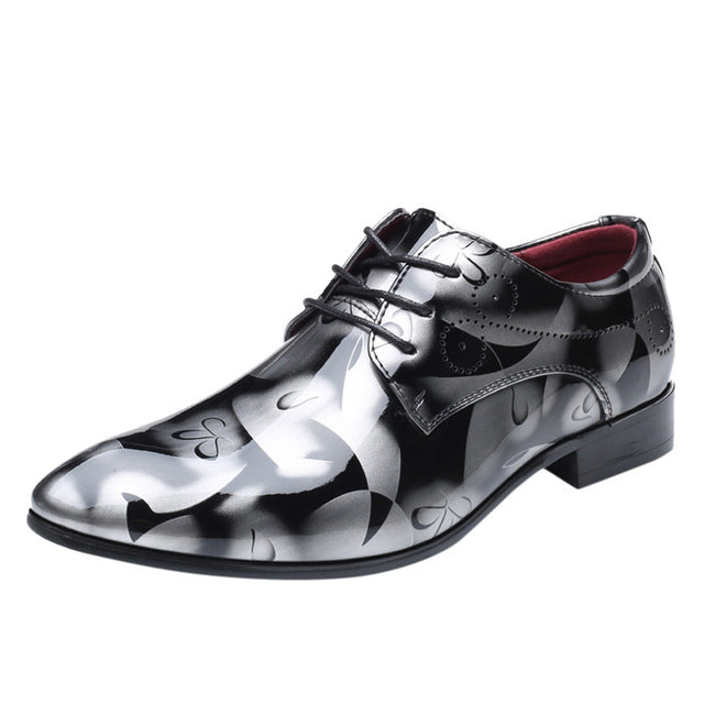 Pointed Toe Basic Paint Pattern Men Shoes