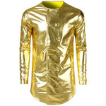 Metallic Double Breasted Night Club Style Men Costume Shirt