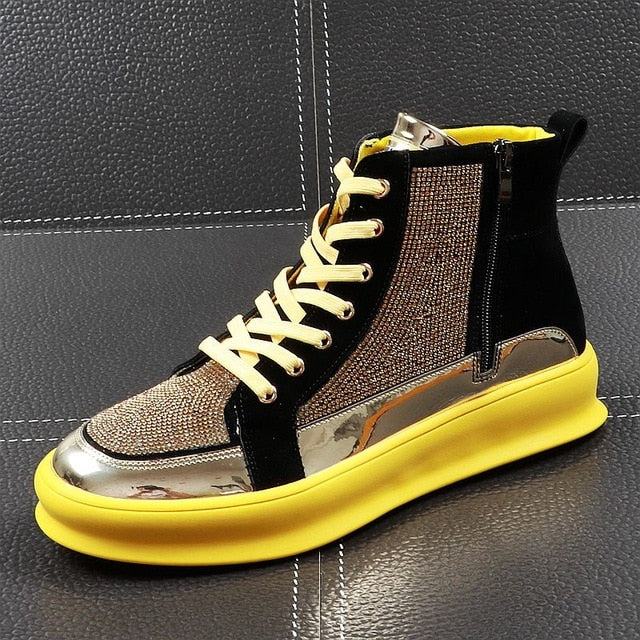Yellow Gold Black Crystal High Top Bling Style Men Sneaker