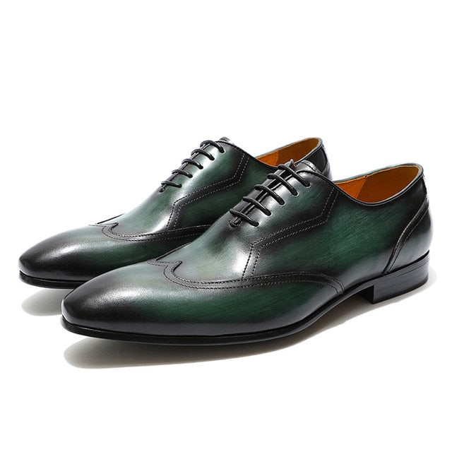 Excellent Black Green Hand Crafted Wingtip Men Oxfords Shoes
