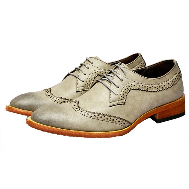 Simple Casual Wingtip Men Pigskin Leather Shoes