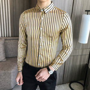 Striped Khaki White Long Sleeve Style Men Slim Fit Shirts
