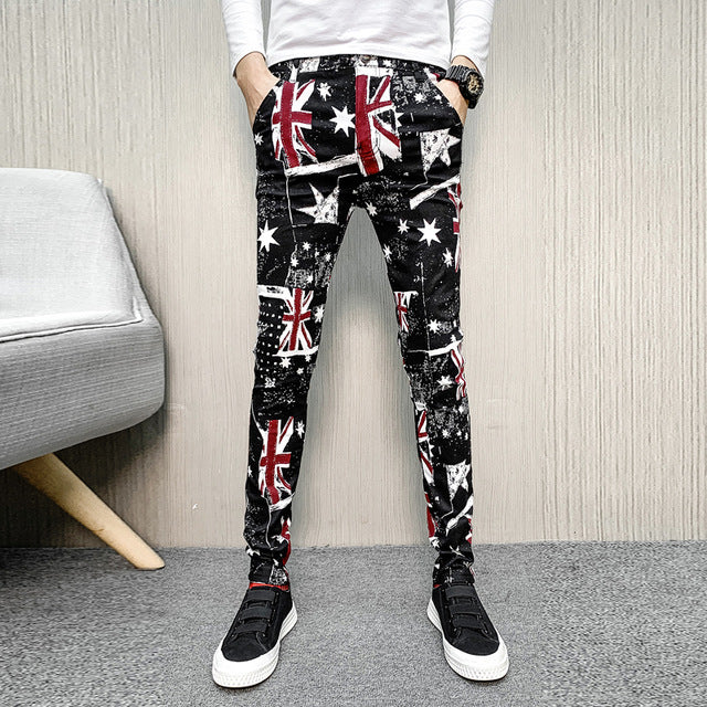 Flag Print Sporty Drawstring Casual Style Men Pants