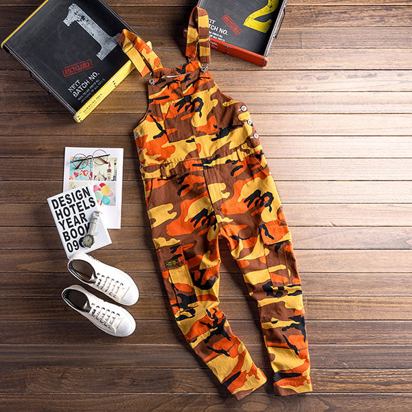 Bright Casual Camouflage Multi Pockets Men Overall Pants - FanFreakz