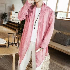 Cotton Linen Open Stitch Long Sleeve Summer Style Men Outer Shirts