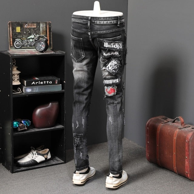 Holes Patched with Card Game Embroidery Splice Casual Style Men Jeans