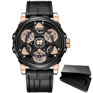 Creative Rotate Design in Leather Band Casual Men Watches
