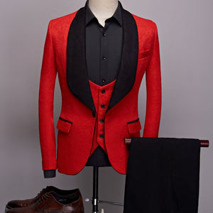 Big Shawl Lapel Jacquard Men Dress Suit Complete Set Blazer, Vest, and Pant - FanFreakz