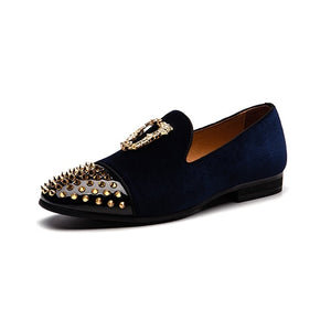 Rivets Toe with Metal Ornament Casual Slip On Style Men Loafers