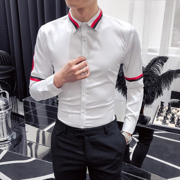 Solid Black or White with Ribbon Stripes Detail Men Shirts