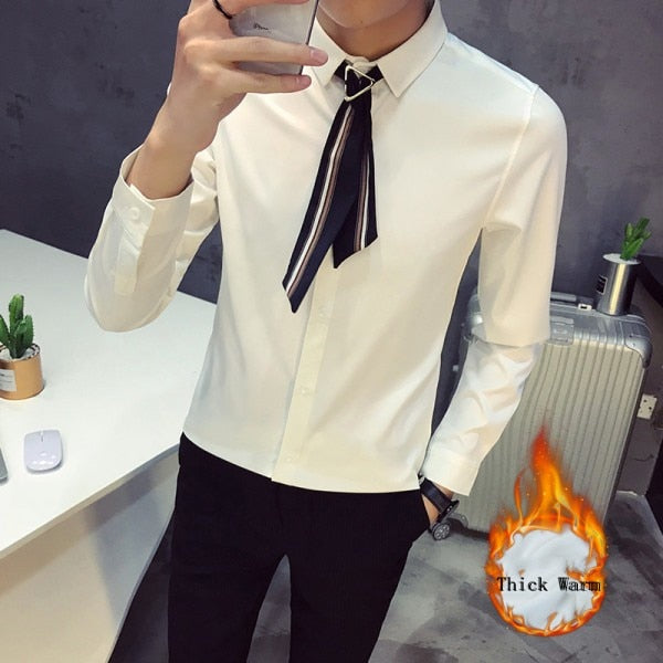 Casual Plain Solid with Scarf Tie Design Men Long Sleeves Shirt - FanFreakz