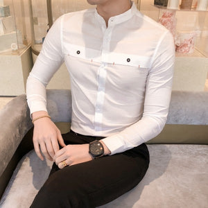 Casual Mandarin Collar Long Sleeve Solid Design Men Shirts