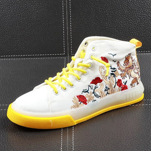 Canvas Chinese Style Embroidery High Top Style Men Sneaker