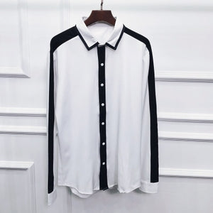 Clean Casual Black And White Contrast Stripe Men Slim Fit Shirt - FanFreakz