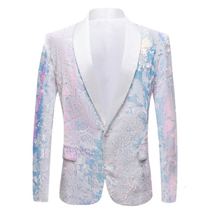 White Fantasy Sequins Prom Costume Slim Fit Style Men Blazer