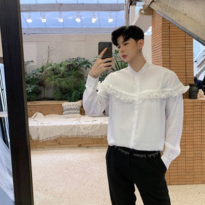 Spring New Vintage with Short Ruffle Chest Detail Men Dress Shirt