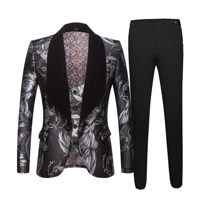 Tuxedo Big Shawl Lapel Three Pieces Costume Set Men Suit