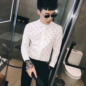 Clean Casual Long Sleeve with Tiny Polkadot Detail Men Shirt - FanFreakz